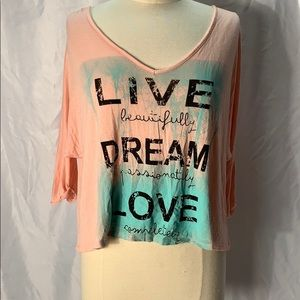 "Aran's Den 3/4 Sleeve Tee ""Live, Dream, Love"" SZ M"
